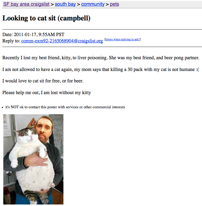 creepy dating ads One man bids farewell to craigslist's shuttered personals section i posted an ad creepy, or want to feel superior fine but if this thing is going.